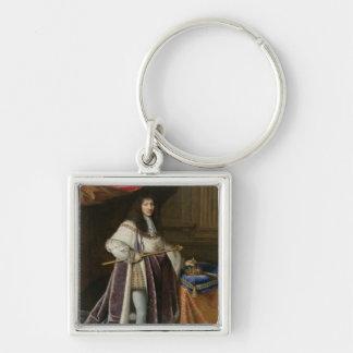 Retrato de Louis XIV Llavero Cuadrado Plateado