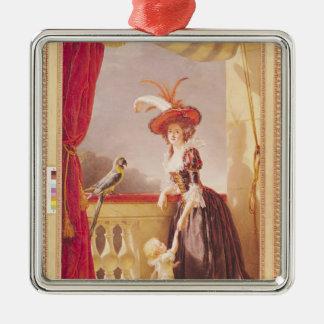 Retrato de Louise-Elisabeth de Francia y ella Adorno Cuadrado Plateado