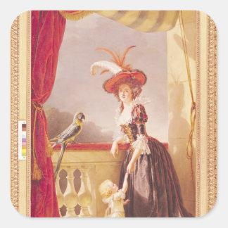 Retrato de Louise-Elisabeth de Francia y ella Pegatina Cuadrada