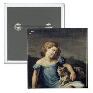 Retrato de Louise Vernet como niño, 1818-19 Pin Cuadrado