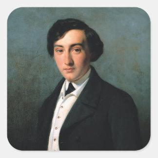 Retrato de Lucien Petipa 1849 Pegatina Cuadrada