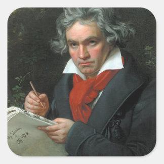 Retrato de Ludwig van Beethoven Pegatina Cuadrada