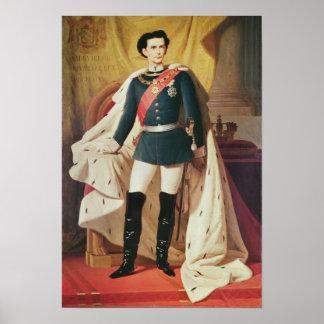 Retrato de Luis II de Baviera en uniforme Poster