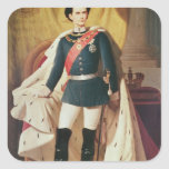 Retrato de Luis II de Baviera en uniforme Pegatinas Cuadradas