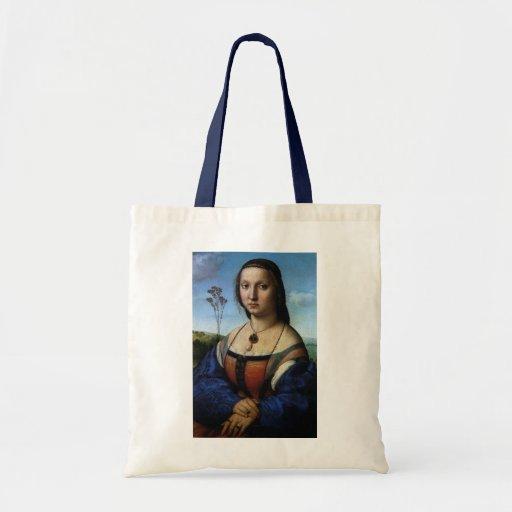 Retrato de Magdalena Doni por Raphael o Raffaello Bolsa Tela Barata