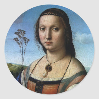 Retrato de Magdalena Doni por Raphael o Raffaello Pegatina Redonda