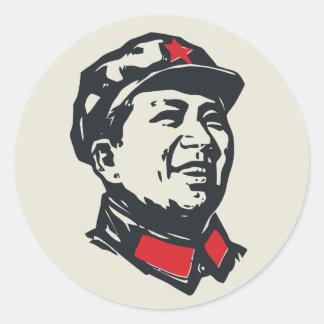 Retrato de Mao del presidente Pegatina Redonda