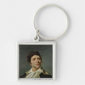 Retrato de Marat 1793 Llavero Cuadrado Plateado