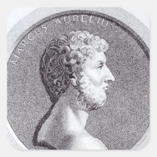 Retrato de Marco Aurelius Pegatina Cuadrada