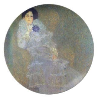Retrato de Marie Henneberg por Klimt Plato