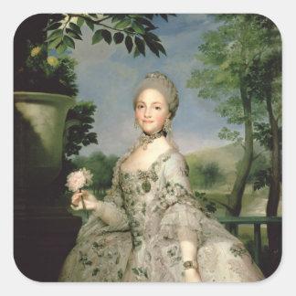 Retrato de Marie-Louise de Borbón Pegatina Cuadrada