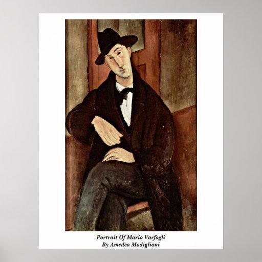 Retrato de Mario Varfogli de Amedeo Modigliani Póster