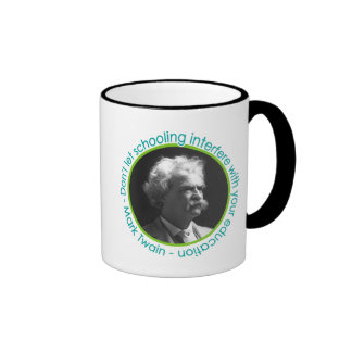 Retrato de Mark Twain con la taza de la cita