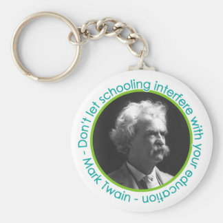 Retrato de Mark Twain con llavero de la cita