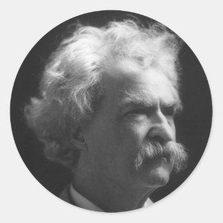 Retrato de Mark Twain Pegatina Redonda