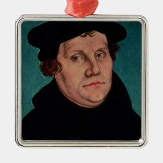 Retrato de Martin Luther, 1529 Adorno Cuadrado Plateado