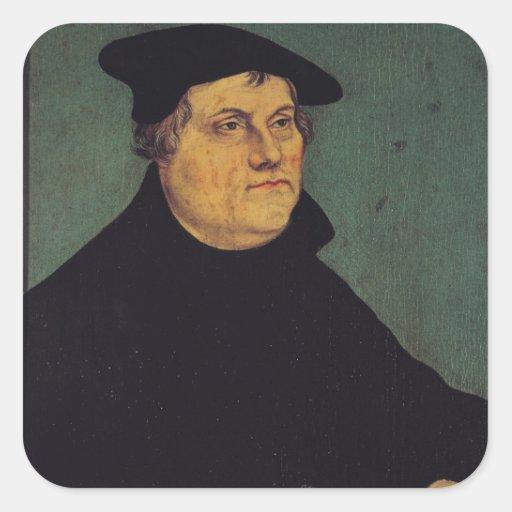 Retrato de Martin Luther 1543 Pegatinas Cuadradases Personalizadas
