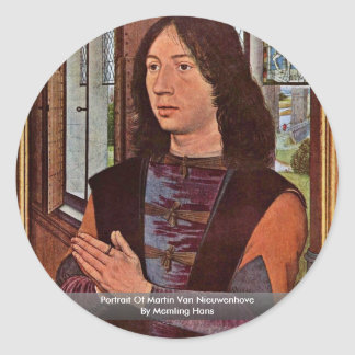 Retrato de Martin Van Nieuwenhove By Memling Hans Pegatina Redonda