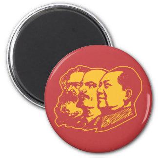 Retrato de Marx Lenin Mao Imán Redondo 5 Cm