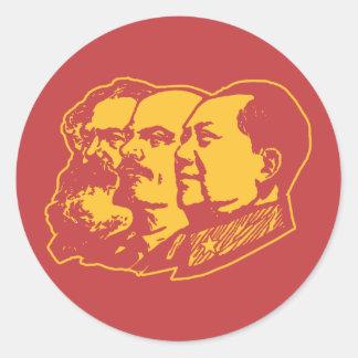 Retrato de Marx Lenin Mao Etiqueta Redonda