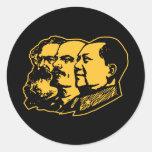 Retrato de Marx Lenin Mao Pegatina Redonda