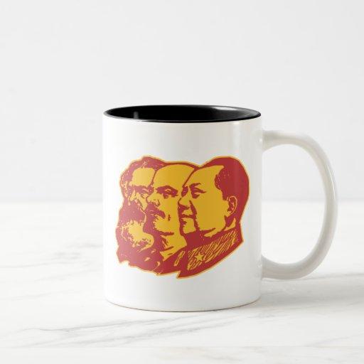 Retrato de Marx Lenin Mao Taza Dos Tonos