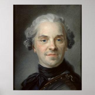 Retrato de Mauricio, Comte de Saxe 1747 Póster