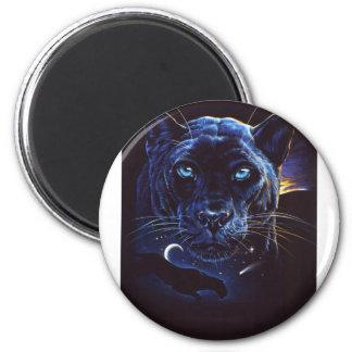 Retrato de medianoche del leopardo imán redondo 5 cm