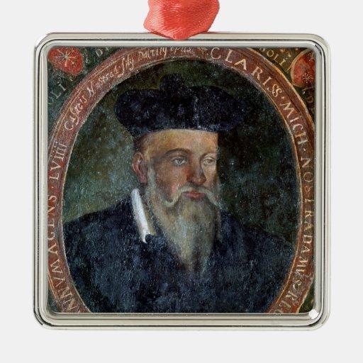 Retrato de Miguel de Nostradame Adorno Navideño Cuadrado De Metal