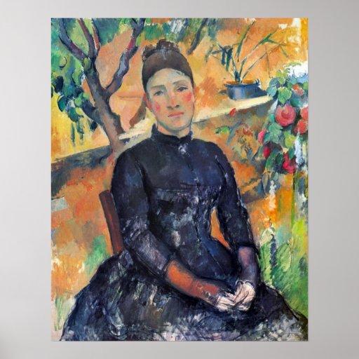Retrato de Mme Cezanne en el invernadero - Cezanne Póster