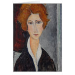 Retrato de Modigliani Amedeo Tarjeta De Felicitación
