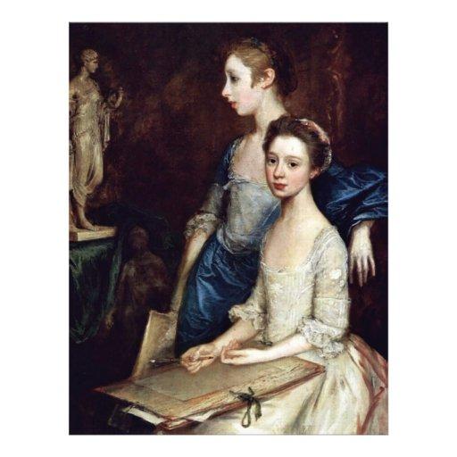 Retrato de Molly y Peggy con las fuentes del dibuj Tarjeton