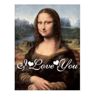 Retrato de Mona Lisa/pintura te amo Tarjetas Postales