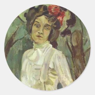 Retrato de Musatov- del vencedor de Nadezhda Pegatina Redonda