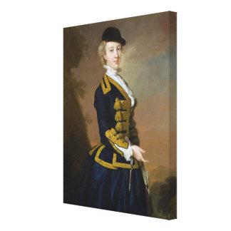 Retrato de Nancy Fortesque que lleva un ri azul ma Lona Estirada Galerías
