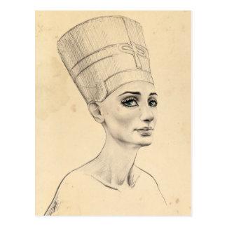 Retrato de Nefertiti en la postal de la textura
