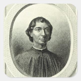 Retrato de Niccolo Machiavelli Pegatina Cuadrada