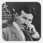Retrato de Nikola Tesla Pegatina Cuadrada