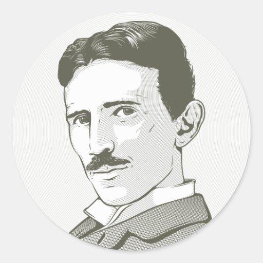 Retrato de Nikola Tesla Pegatina Redonda