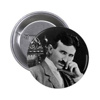 Retrato de Nikola Tesla Pin Redondo 5 Cm