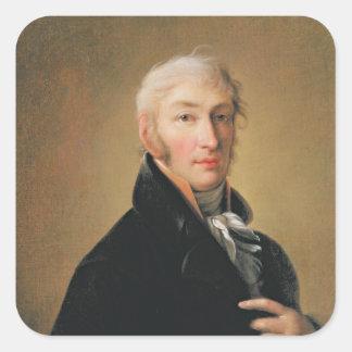 Retrato de Nikolay Mikhaylovich Karamzin, 1805 Pegatina Cuadrada