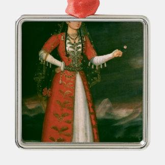 Retrato de Nino Eristavi, iraní, 1829 Adorno Cuadrado Plateado