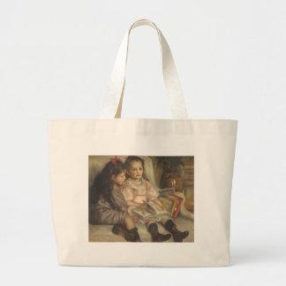 Retrato de niños, impresionismo del vintage de bolsa tela grande