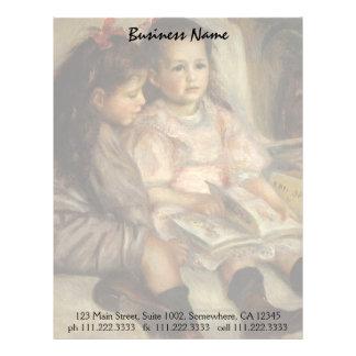Retrato de niños, impresionismo del vintage de membrete