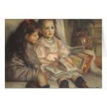 Retrato de niños, impresionismo del vintage de tarjeta