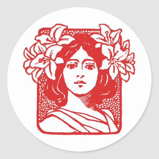 Retrato de Nouveau del arte de la mujer con los Pegatina Redonda