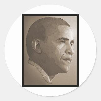 Retrato de Obama Pegatina Redonda