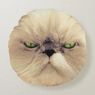 Retrato de ojos verdes del gato cojín redondo