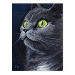 Retrato de ojos verdes del gato del gris azul de S Tarjetas Postales