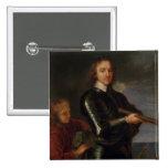 Retrato de Oliver Cromwell Pin Cuadrado